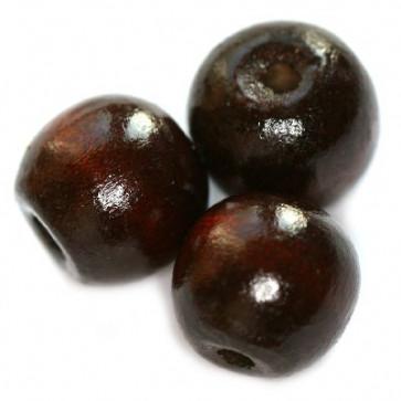 lesene perle, okrogle 15x16 mm, t.rjave, 50 gr