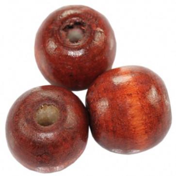 lesene perle, okrogle 15x16 mm, opečnato rdeče, 50 gr