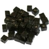 lesene perle, kocke 6 mm, črne, 50 gr