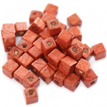 lesene perle, kocke 6 mm, sv. rdeče, 50 gr