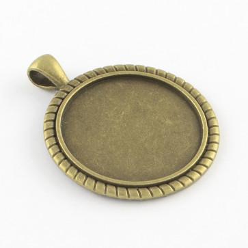 osnova za obesek - medaljon 47x38x2mm, antik, brez niklja, velikost kapljice: 30 mm, 1 kos