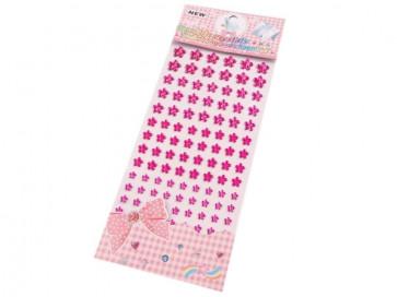 samolepilne perle rožice - polovične, 6 - 12 mm mix, pink, 16 kos