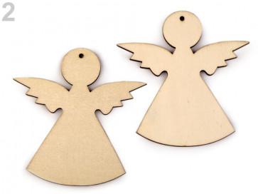 leseni obesek - angel, 7,9 x 8,2 cm, naravne b., 1 kos