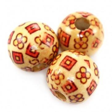 lesene perle okrogle, 16 mm, 50 kos