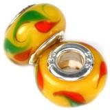 steklene perle z vzorcem 9x14 mm, rumene, 1 kos