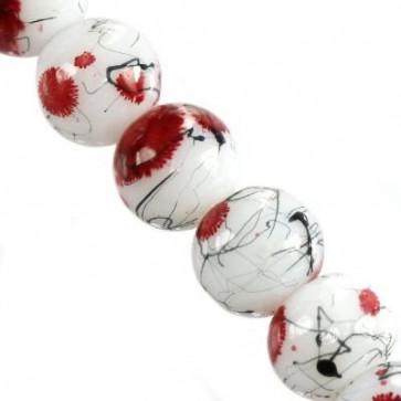 steklene perle 6 mm poslikane, rdeče, 1 niz-80 cm