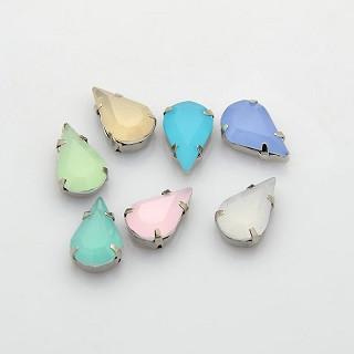 akrilne perle v kovinski osnovi 18x13x5.5 mm, mix, 1 kos