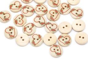 gumbi leseni 15 mm, srčki, 1 kos