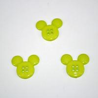 gumbi akrilni, zeleni miki maus, 21 mm, 5 kos
