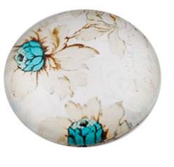 steklena kapljica s sliko, 18 mm, rože, bela, 1 kos
