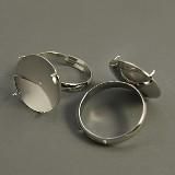 osnova za prstan s ploščico 16 mm, premer nastavljivega obročka: 19 mm, platinaste b., brez niklja, 1 kos
