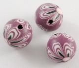 fimo perle okrogle 8 mm, vijola, ročno delo, 5 kos