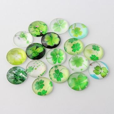 steklena kapljica 12x4 mm, deteljica mix, 1 kos