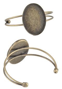 kovinska osnova za zapestnico 30x40 mm, antik, 1 kos