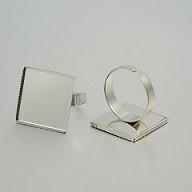 osnova za prstan za kapljico 20 x 20 mm, premer nastavljivega obročka: 18 mm, platinaste b., 1 kos