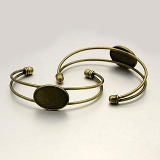 kovinska osnova za zapestnico 64 mm, antik, brez niklja, 1 kos