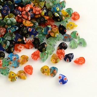 steklena kapljica Millefiori, 8x6x2 mm, mix, 1 kos