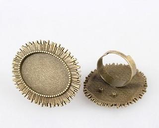 osnova za prstan za kapljico 18 x 25 mm, premer nastavljivega obročka: 17mm, antik, brez niklja, 1 kos