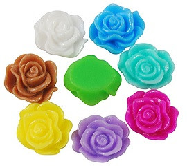 roža - umetna masa, 13x5 mm, turkizna mix, 1 kos