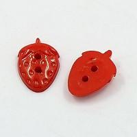 gumbi akrilni, rdeča jagoda, 16x11x3.5 mm, 5 kos