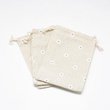 vrečke iz blaga - bombaž, 14x10 cm, beige z belimi rožicami, 1 kos