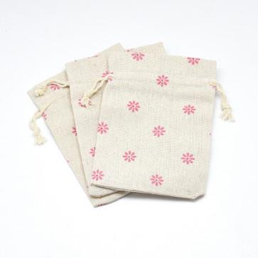 vrečke iz blaga - bombaž, 14x10 cm, beige z roza rožicami, 1 kos
