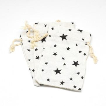 vrečke iz blaga - bombaž, 14x10 cm, beige z zvezdicami, 1 kos