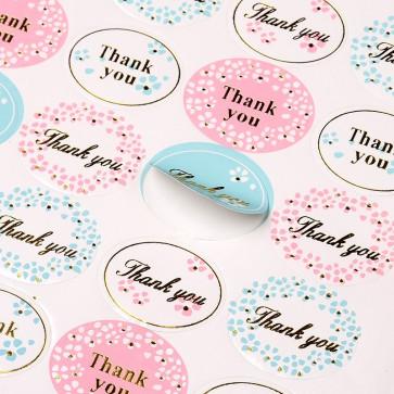 "samolepilne nalepke ""Thank you"", velikost pole: 18.3x15.4 cm, mix kot na sliki, 1 pola - 24 nalepk"