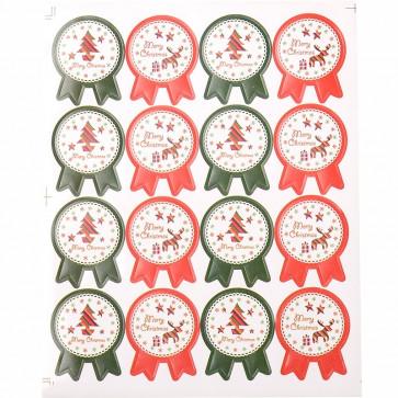 božične nalepke, 20.5x16.2 cm, samolepilne, 1 pola - 16 nalepk