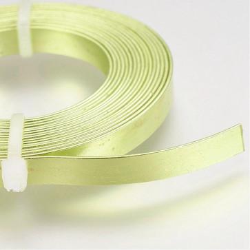 alu barvna žica za oblikovanje - ploščata, širina: 5 mm, debelina: 1 mm, citronsko zlata, 2 m
