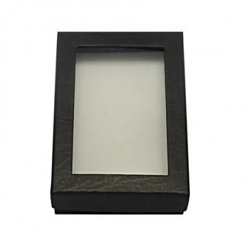 škatla za nakit 90x65x28 mm, črna, z okencem, 1 kos