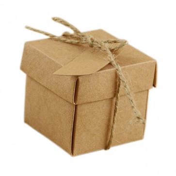 darilna embalaža 5x5x5 cm, rjave barve, z vrvico, 1 kos