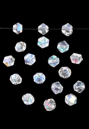 steklene perle - bikoni, 4 mm, crystal AB, 1 kos
