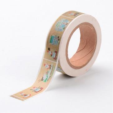 Washi tape - dekorativni lepilni trak - rjav- Božični, širina: 15 mm, dolžina: 10 m, 1 kos
