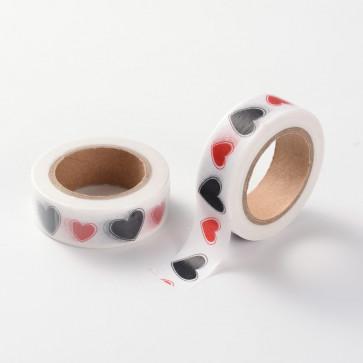 Washi tape - dekorativni lepilni trak - srčki, širina: 15 mm, dolžina: 10 m, 1 kos