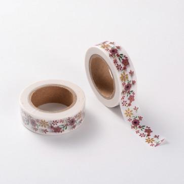 Washi tape - dekorativni lepilni trak - rožice, širina: 15 mm, dolžina: 10 m, 1 kos