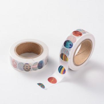 Washi tape - dekorativni lepilni trak - jajčka, širina: 15 mm, dolžina: 10 m, 1 kos