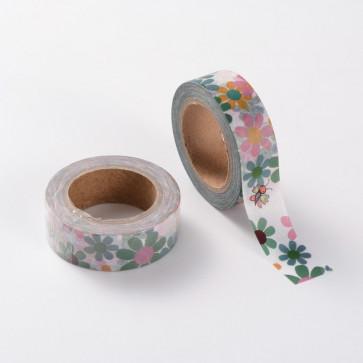 Washi tape - dekorativni lepilni trak - cvetje, širina: 15 mm, dolžina: 10 m, 1 kos