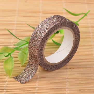 Washi tape - dekorativni lepilni trak - rjav z bleščicami, širina: 15 mm, dolžina: 3 m, 1 kos