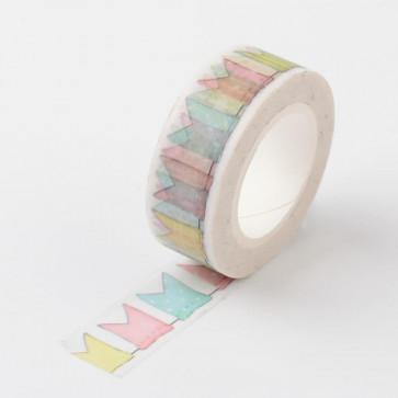 Washi tape - dekorativni lepilni trak - zastavice, širina: 15 mm, dolžina: 10 m, 1 kos
