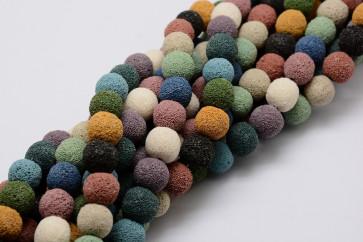 lava perle 10 mm, okrogle, mix, 1 kos