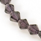 steklene perle - biconi, 6 mm, vijola, 1 niz - cca 55 kos