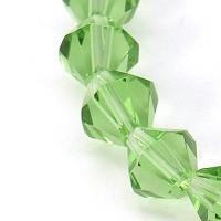 steklene perle - biconi 6 mm, sv. zelene, cca. 55 kos