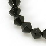 steklene perle - biconi, 6 mm, črne, 1 niz - cca 55 kos