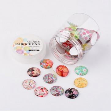 steklena kapljica 25 mm, rože mix, 1 kos