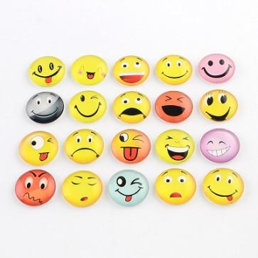 steklena kapljica 10 mm, Emoji mix, 1 kos