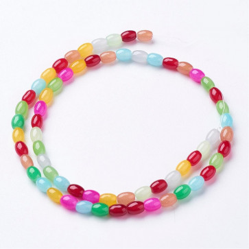 steklene perle 6~6.5x4~5 mm, velikost luknje: 1 mm, mix, 1 niz - cca 63 kos