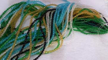 steklene perle, nepravilno okrogle 4 mm, mix, 1 niz - cca 82 kos