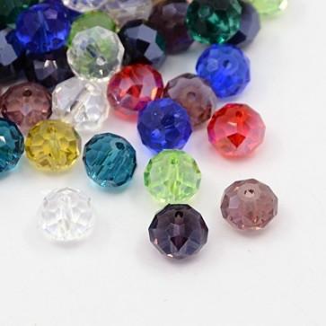 steklene perle nepravilno okrogle, 10x7 mm, mix, 144 kos