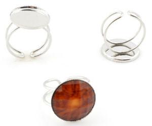 osnova za prstanza kapljico 18 mm, premer nastavljivega obročka: 22 mm, brez niklja, 1 kos